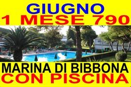 giugno 1 mese 790 marina di bibbona in residence con piscina affitto appartamenti case a 300 metri dal mare ( vedi altre offerte )