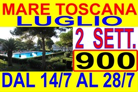 luglio 2 sett. 840 oppure agosto 2 sett. 1140 a marina di bibbona toscana 300 metri dal mare in residence con piscina ( vedi listino prezzi )