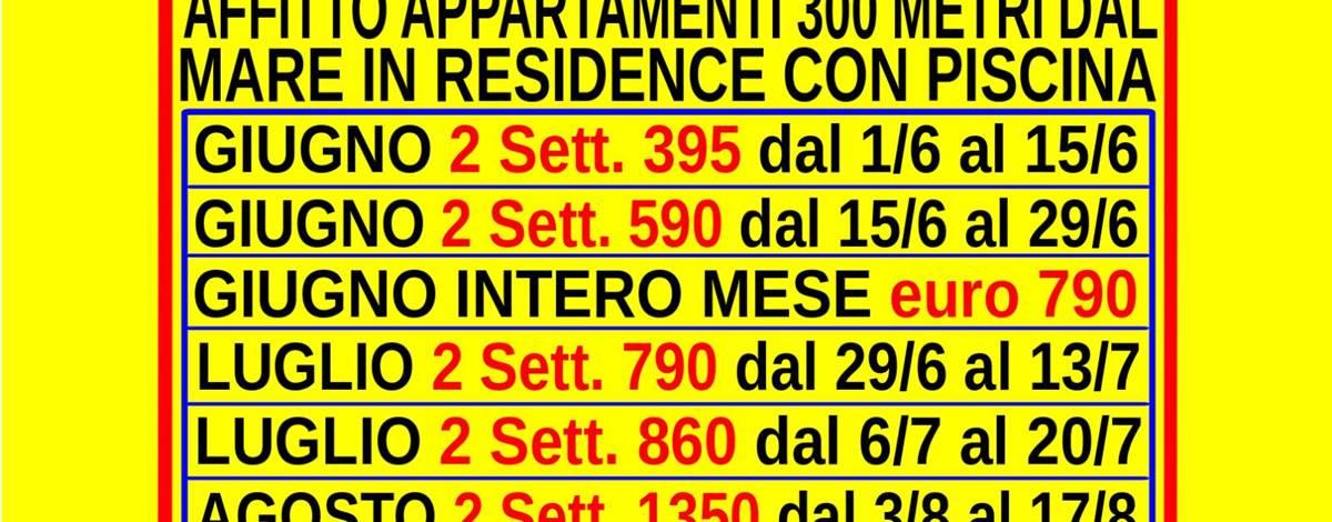 Offerte giugno luglio agosto affitto appartamenti Marina di Bibbona mare Toscana 300 metri dal mare in residence con piscina Vedi Prezzi